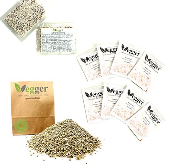Vegger Accessoires 8 Zakjes Zaden – Groeimedium Voor 4 Vegger Potten – 2 Zakjes Nutriëntkorrels